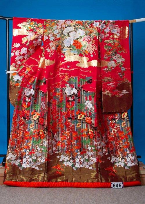 トールサイズ打掛レンタル(身長175cm前後まで)赤系 竹と梅   U645