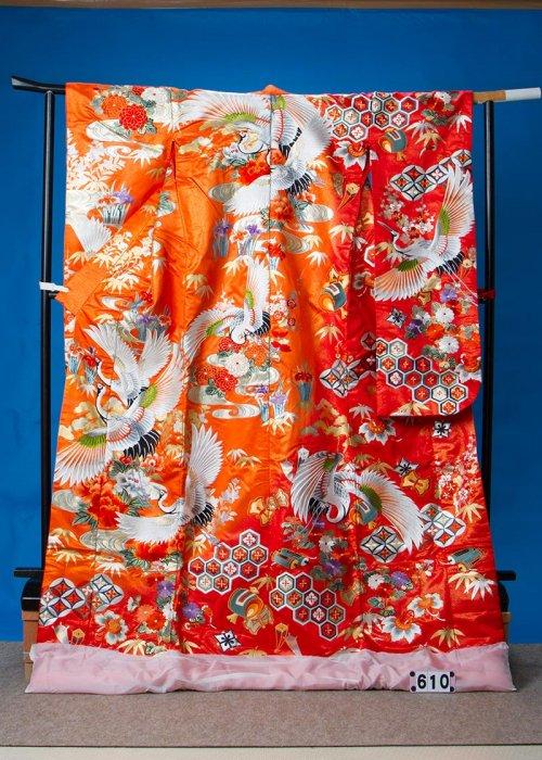 トールサイズ打掛レンタル(身長179cm前後まで)オレンジ 鶴  U610