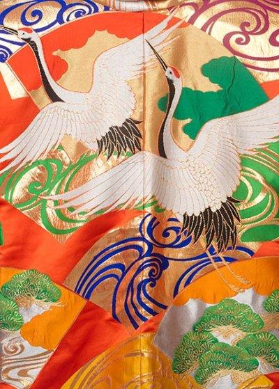 J106戦国武将風 陣羽織レンタル  オレンジ系 松に鶴【リメイク後未使用】