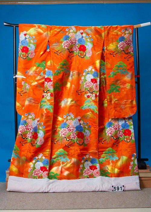 トール打掛レンタル(身長176cm前後まで)オレンジ系 松に花車  U591