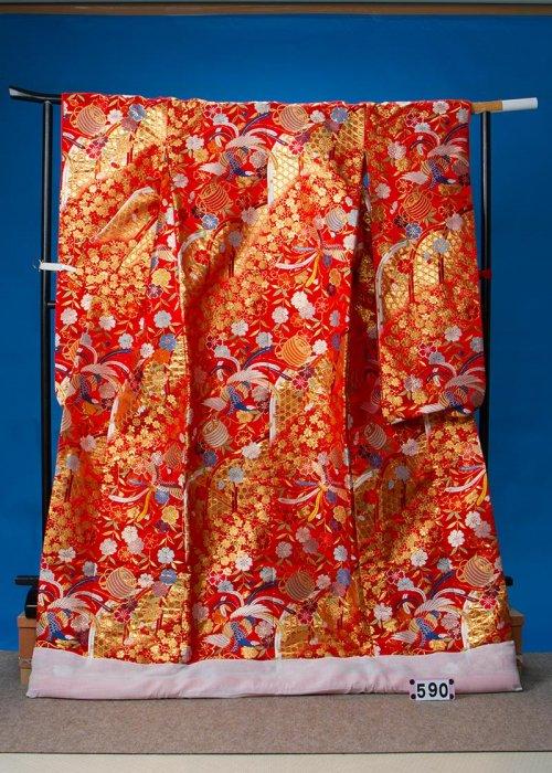 トールサイズ打掛レンタル(身長179cm前後まで)赤系 鳳凰 糸巻き  U590