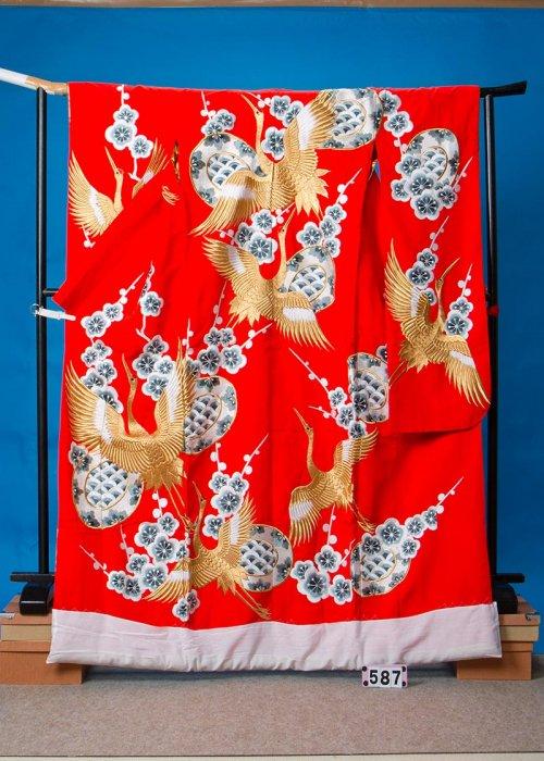 打掛レンタル(身長166cm前後まで)赤系 梅 金の鶴 U587