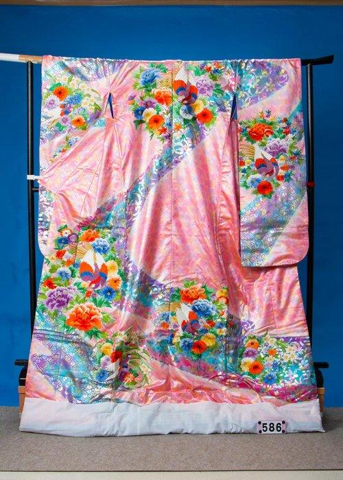 トールサイズ打掛レンタル(身長176cm前後まで)パールピンク 花 雉 U586