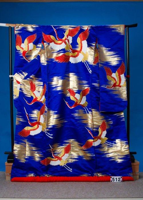 トールサイズ打掛レンタル(身長175cm前後までヒップ115cmまで)紺系 鶴  U512