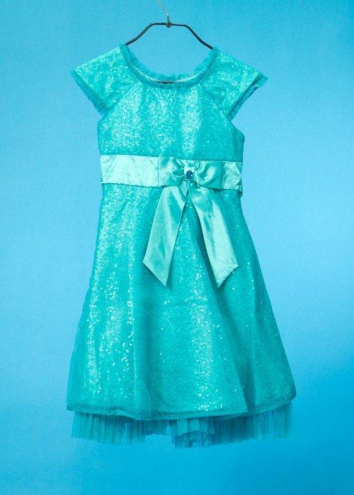 G135-15 子供ドレス(身長135前後) エメラルドグリーン 青緑