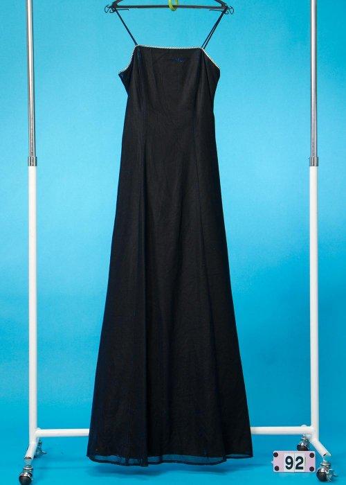 9号ロングイブニングドレス 黒/ラメブルー CD9-2