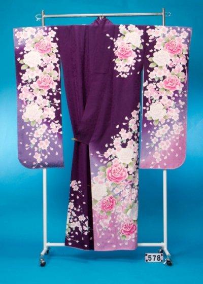 F578トール振袖レンタル 裄69(身長146-166ヒップ72-102)紫 桜と薔薇リボン[PrivateLabal]プライベートレーベル【新品同様】