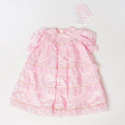 G70-4ベビードレス(身長70cm前後) ピンク フリル 金レース