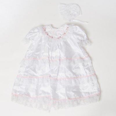 G70-5ベビードレス(身長70cm前後) 白レース ピンクライン 薔薇