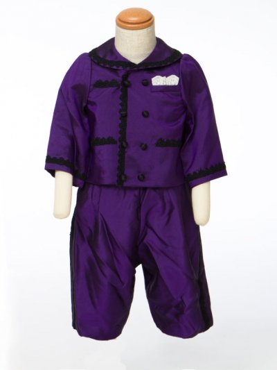 G70-7ベビータキシードスーツレンタル 身長70前後 ウエディングドレスメーカー日本製 紫サテン【未使用】