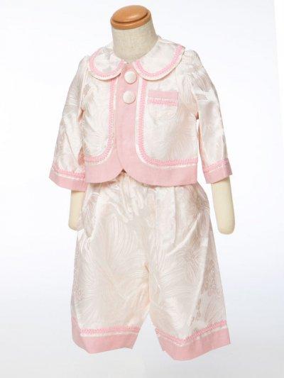 G70-10ベビータキシードスーツレンタル(身長70cm前後)ウエディングドレスメーカー日本製 うすピンクにピンクライン【未使用】