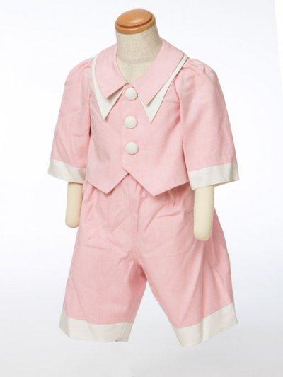 G70-11ベビータキシードスーツレンタル(身長70cm前後)ウエディングドレスメーカー日本製 ピンク 【未使用】