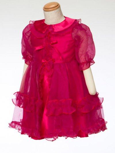 G70-16ベビードレス(身長70cm前後) ショッキングピンク フリル