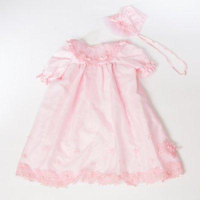 G70-21ベビードレス(身長70cm前後) ピンク 花の刺繍