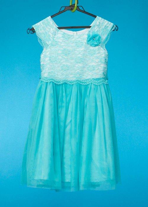 G125-12 子供ドレス(身長125前後) エメラルドグリーン 青緑 レース