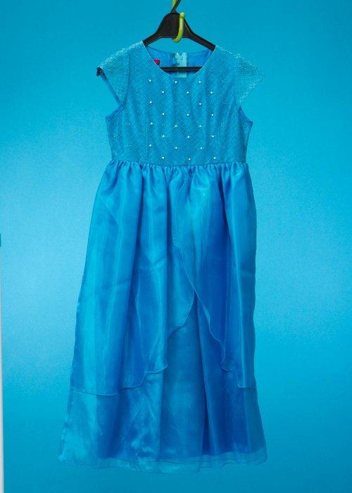 G130-27子供ドレスレンタル(身長130cm前後)  青