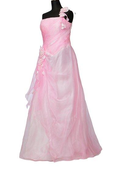 D1565ウエディングドレスレンタル15号(ウエスト80cmまで)ピンク ワンショルダー 薔薇  D1565