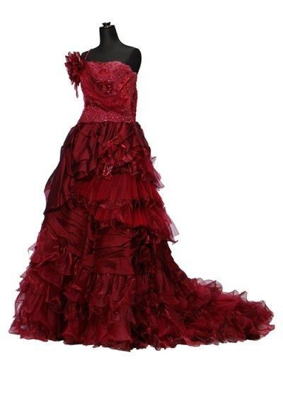 D1566ウエディングドレスレンタル9-15号(ウエスト68-80まで)濃い赤 ワインレッド スリップドレス