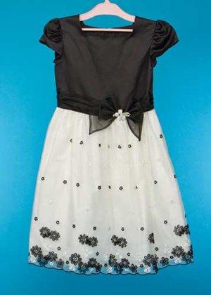 G150-32子供ドレス(身長150前後) 黒/白 フレンチ リボン  花のモチーフ