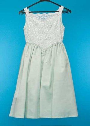 G145-10子供ドレス(身長145) ミントグリーン 白レース