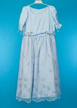 G145-12子供ドレスレンタル(身長145前後) 水色 花の刺繍