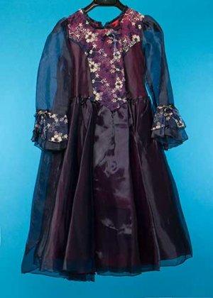G145-15子供ドレスレンタル(身長145前後) 紺/紫 パゴダスリーブ