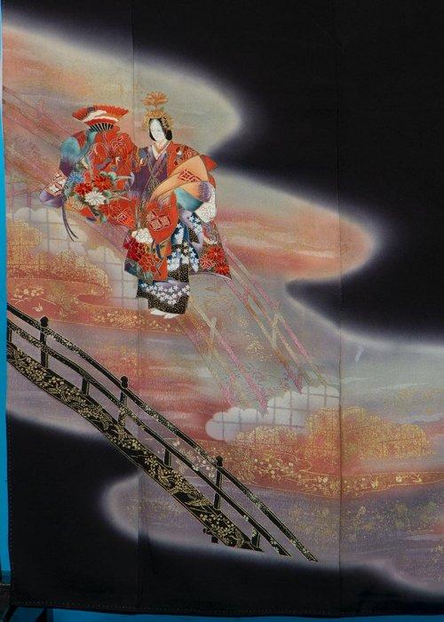 TK118トール留袖レンタル裄63-67身長148-168ヒップ72-97)正絹  橋に能の舞 [山本寛斎]