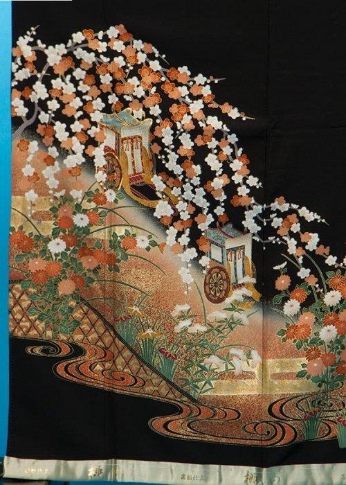 TK121トール留袖レンタル 裄65-69身長149-169ヒップ76-101) 正絹 金彩 桜に御所車
