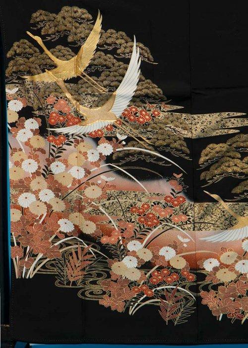 TK123トール留袖レンタル 裄65-69身長149-169ヒップ77-102) 正絹 松に鶴 金彩