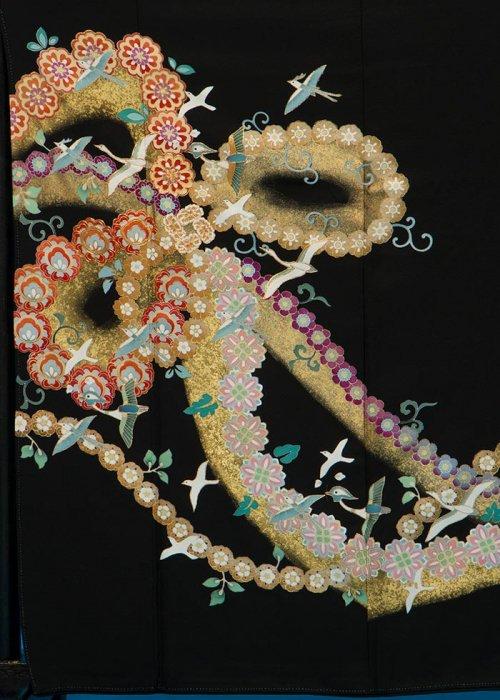 TK128トール留袖レンタル 裄65-69身長146-166ヒップ75-100) 正絹 花のリボン 金彩 友禅 作家物