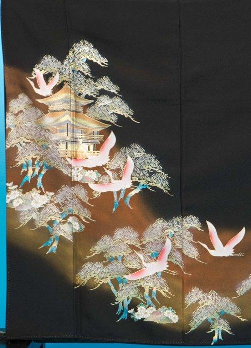 T48トール留袖レンタル 裄65(身長147-167ヒップ77-102) 金閣寺 松に鶴 金彩