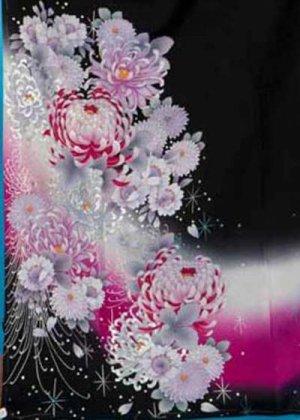 TK207トール超ワイド黒留袖レンタル(裄74-78身長160-177ヒップ110-130バストワイド) 正絹  桜と菊 ダイヤ 銀彩 刺繍  [花鳥風月]