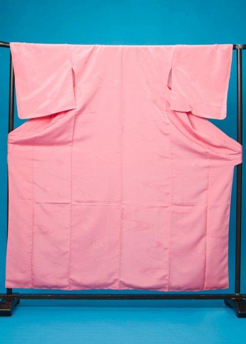 SH112袖短い色無地着物 裄68(身長140-160ヒップ74-104)日本製 ピンク