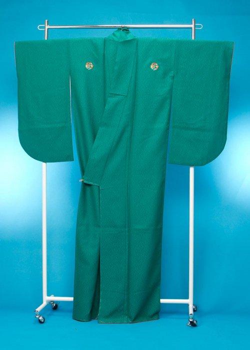 S57小振袖レンタル裄69(ヒップ70-100) エメラルドグリーン無地 花紋(3つ紋)