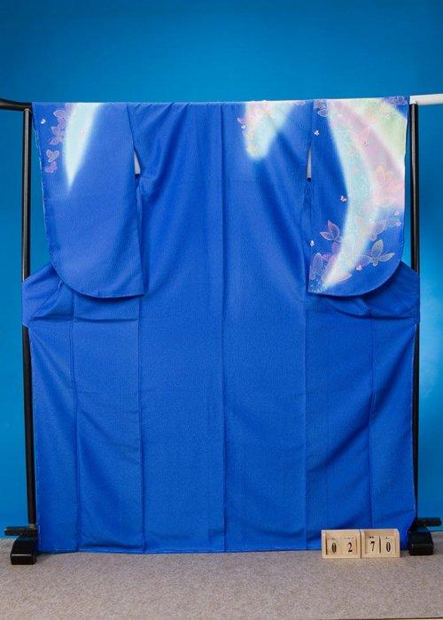 S270小振袖レンタル 裄70(ヒップ71-101)青に水色ぼかし 蝶々