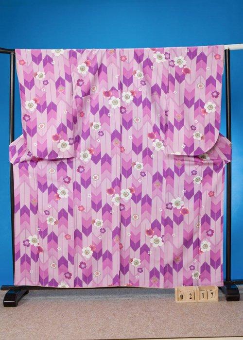 S217小振袖レンタル裄69(ヒップ71-101) 薄紫ラベンダー 矢羽根 桜