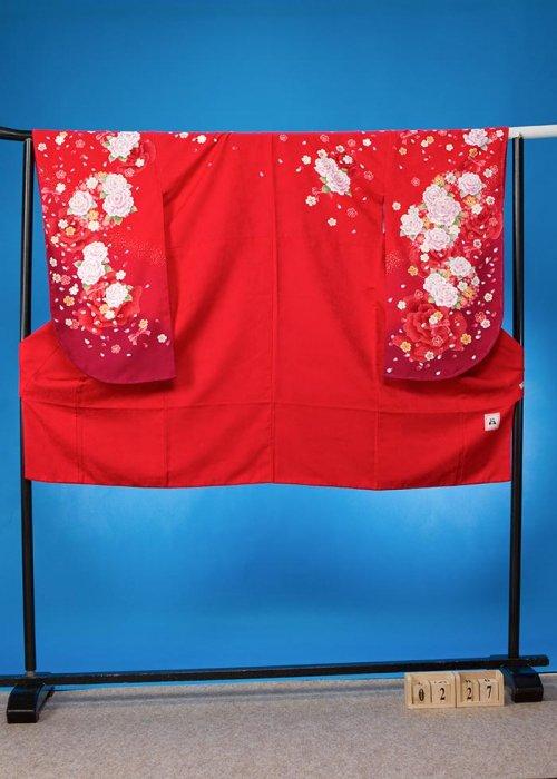 S227小振袖レンタル裄69(ヒップ76-106)赤系 薔薇 [anan]