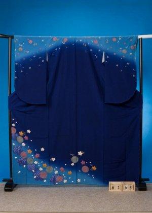 S268やや大きい小振袖&訪問着レンタル裄68(ヒップ77-107)青紺系 ネイピー/ターコイズ  まりと桜