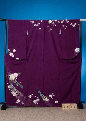 S266小振袖レンタル裄71(身長151-171ヒップ78-103) 紫系 桜 1/2成人式・十三参りにも