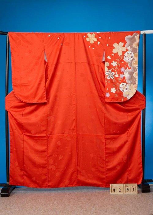 S293小振袖レンタル裄69(ヒップ71-101)オレンジ系無地 ワンポイント 桜