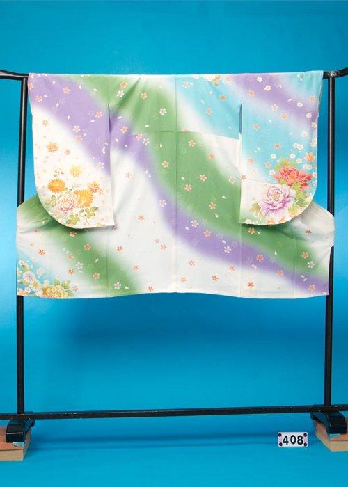 S408小振袖レンタル裄70(ヒップ78-103) 白に水色・ラベンダーななめストライプ 牡丹【新品同様】