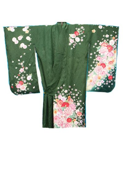 S410トール超ワイド小振袖レンタル 裄76(身長155-175ヒップ110-135)正絹  濃い緑色 桜【新品同様】
