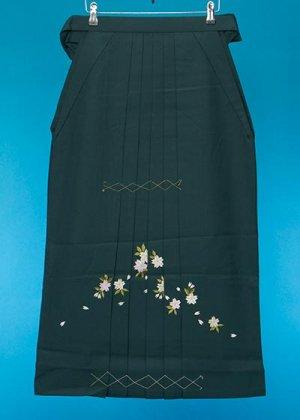 HA89-5女子袴レンタル(身長153-158)濃い緑 グリーン 桜の刺繍