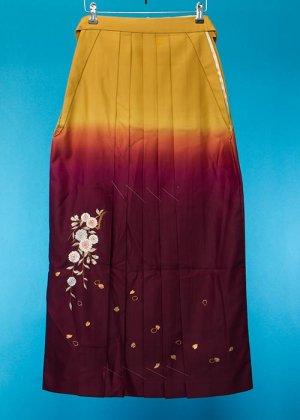 HA95-2女袴レンタル  (身長160-165普通巾) 山吹/ワインぼかし 桜の刺繍