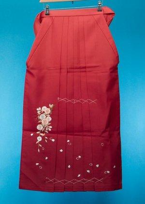 女袴レンタル  (身長160-165cm前後 普通巾) オレンジ赤/エンジぼかし 刺繍  HA95-3
