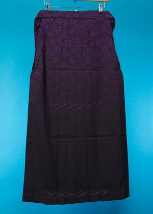 HA95-25女袴レンタル紐下95 (身長160-165普通巾) 紫/黒ぼかし 薔薇ブランド