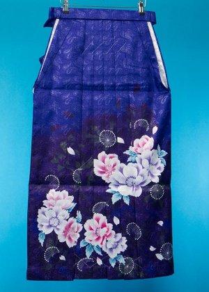 HA95-26女袴レンタル  (身長160-165普通巾) 紺/紫 桜 ブランド[FromKYOTO]