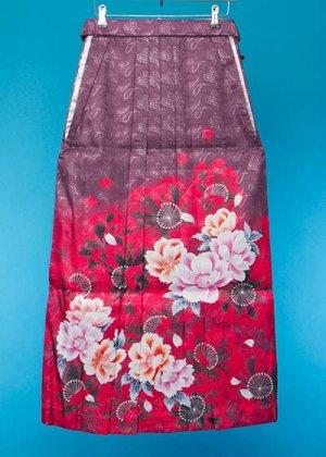 HA95-27女袴レンタル (身長160-165 普通巾) 紫/赤/ピンクぼかし ペーズリー ブランド[FromKYOTO]