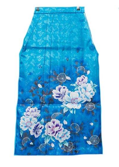 HA95-28女袴レンタル  (身長160-165 普通巾) 水色/青ぼかし 牡丹の花 ブランド [FromKYOTO]
