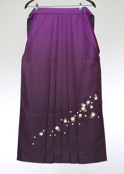 HA95-33女袴レンタル  (身長160-165前後 普通巾)  紫ぼかし 刺繍